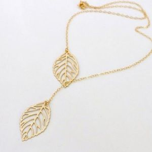 Gold-tone double leaf necklace